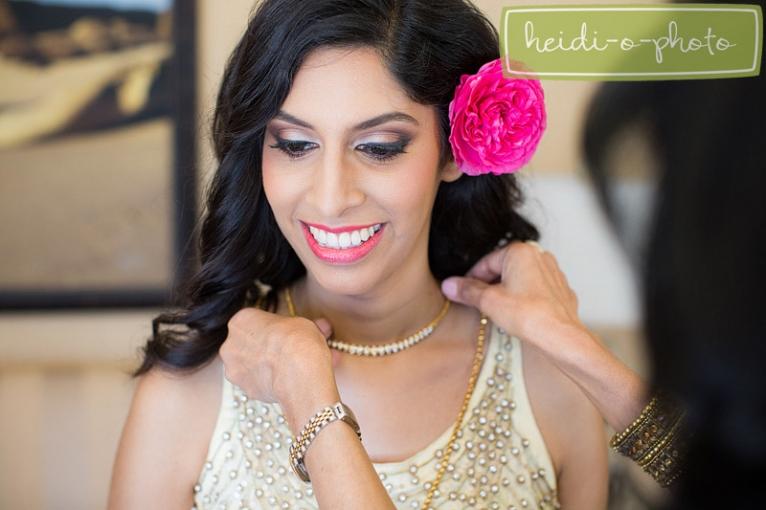 pink flower in hair bride photo san diego