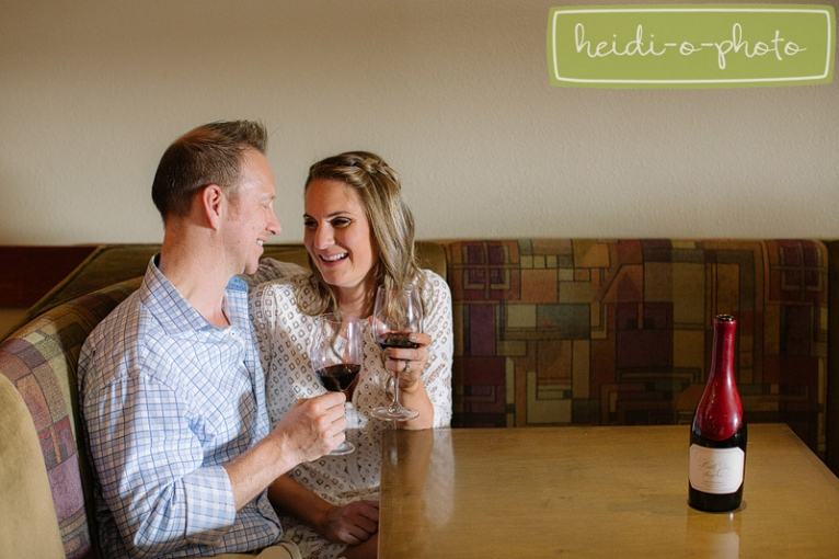 wine bar engagement photo